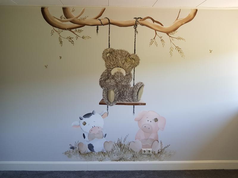 Muurschildering me to you met boerderij diertjes