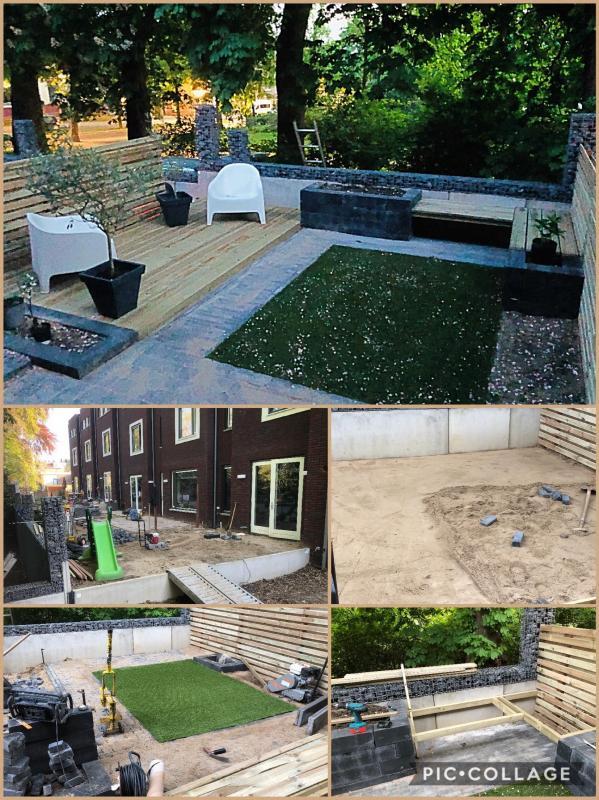 Sfeervolle tuin met een houten vlonder, kunstgras, zwevend bankje en terras
