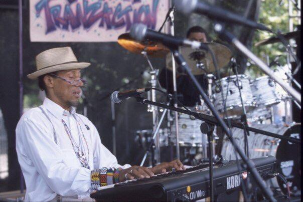 Fab Feno plays keyboards at festival .