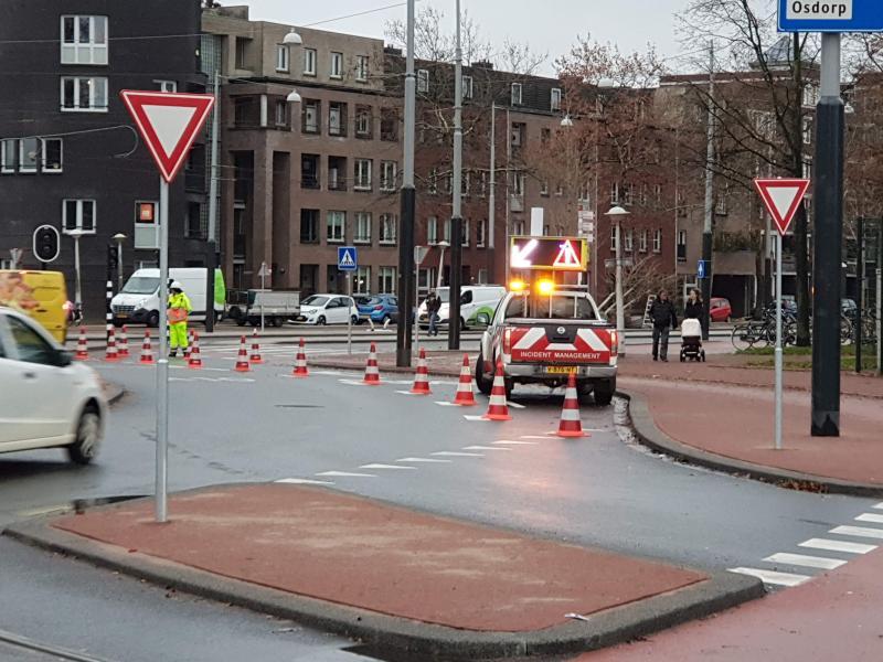 verkeer over trambaan i.v.m. werkzaamheden