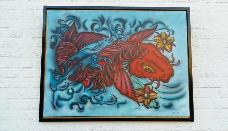 Japanse Koi Karper (Airbrush op Canvas)