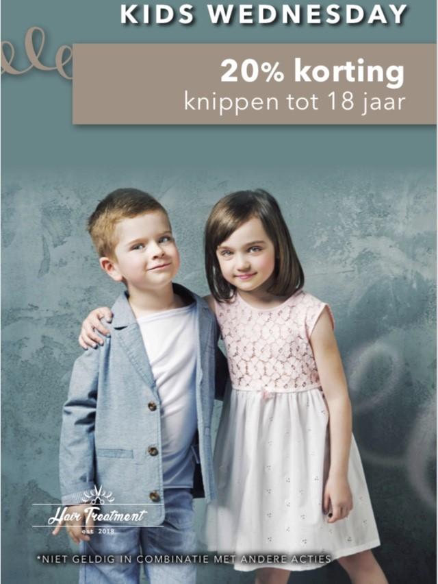Elke woensdag 20% korting op knippen voor kinderen (tot 18 jaar)