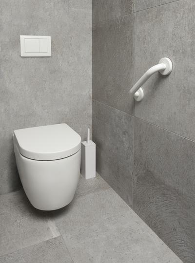een beugel om zich makkelijk van het toilet te heffen.