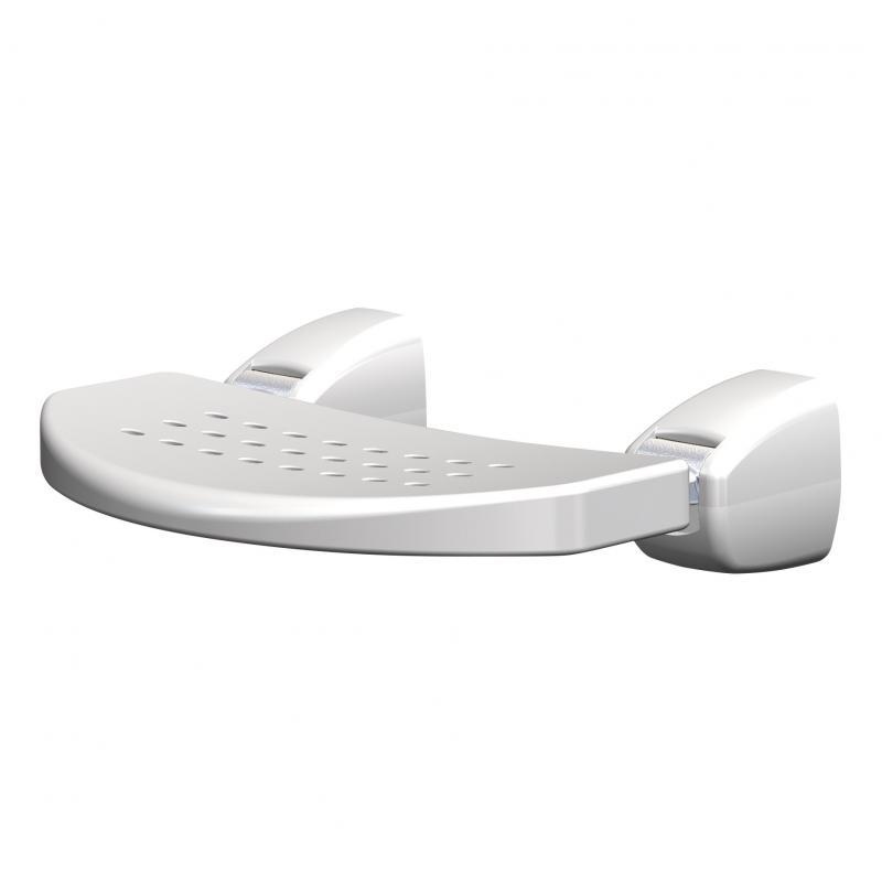 Een opklapbaar stoeltje is een oplossing voor kleine badkamers.